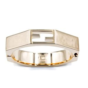 Fendi FF Logo Geometric Heavy Metallic Cuff Bangle